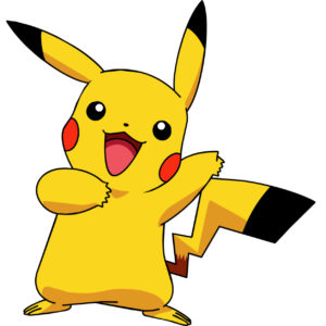 Pikachu with a yellow and black tipped tail